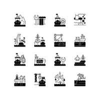 marina industrin svarta linjära ikoner set