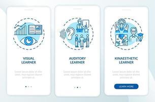 inlärningsstilar blå ombord mobilappsskärm med koncept