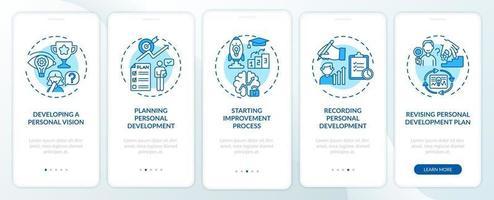 personlig utveckling steg blå ombord mobilappsskärm med koncept