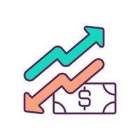 valutahöjning och -fall rgb-färgikon