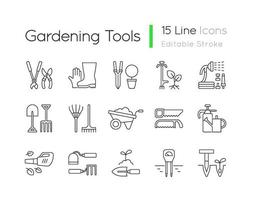 trädgårdsredskap linjära ikoner set vektor