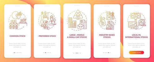 tillgångstyper ombord mobilappsskärm med koncept
