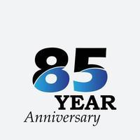 85 Jahre Jubiläumsfeier blaue Farbvektorschablonen-Designillustration