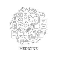 Medizin abstraktes lineares Konzeptlayout mit Überschrift