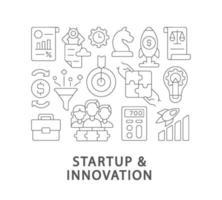 start och innovation abstrakt linjär konceptlayout med rubrik vektor