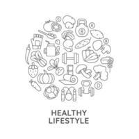 hälsosam livsstil abstrakt linjär konceptlayout med rubrik