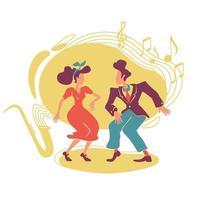swing jazz party 2d vektor webb banner, affisch