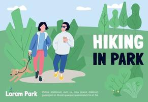 Wandern in Park Banner flache Vektor-Vorlage