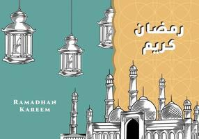 Ramadan Kareem Gruß mit Moschee und Laterne Hand gezeichnete Kalligraphie Schriftzug. Arabische Kalligraphie bedeutet Holly Ramadan. Vektorillustration Vintage Design. vektor