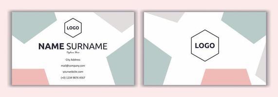 rosa Visitenkartenschablonenvektorillustration. Mode- und Schönheitshintergrund. flaches einfaches Design der Visitenkarte mit Logo-Muster, weich und pastellfarben. Briefpapier Design, Druckvorlage. vektor