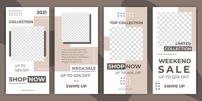 uppsättning redigerbara minimal layout sociala medier berättelser mall pastellfärg för personliga eller företag. berättelse för sociala medier. kan användas för webb, banner, affisch, butik, rabatt, försäljning, reklamprodukt vektor