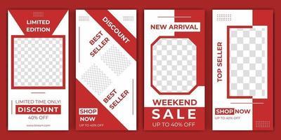 sociala medier berättelser redigerbara post design försäljning främjande mall premium vektor elegant röd färg. snygga inlägg på sociala medier, berättelse och foton. vektor illustration