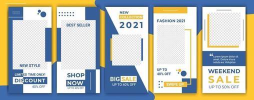 uppsättning försäljning banner bakgrund ram, ig mall foto. layout komposition färsk gul och blå färg design för sociala nätverk berättelse. vektor illustration. trendig minimalistisk stil