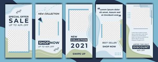Instagram Geschichten Verkauf Banner Vorlage mit blauen Farbe dekorativen Stil Hintergrund. Social-Media-Vorlage Foto, Jahresende Verkauf kann für Hintergrund, Website, Poster, Flyer, Geschenkkarte, Web-Design verwendet werden vektor
