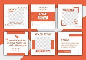 abstrakter Vorlagenbeitrag für soziale Medien. moderner Post-Feed, Orange, Retro, Vorlage, Rahmen im minimalistischen Stil. Web-Bannerwerbung für Promotion-Design mit orange und weißer Farbe.