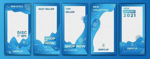 Sammlung abstrakte Farbe in blauen Hintergründen. Social-Media-Gradientenhintergrund. Modell für mobile Hintergründe. Social-Media-Konzept. Vektorschablonen-Designillustration für Flash-Verkauf vektor