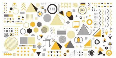 abstrakt geometri uppsättning objekt i gul färg. en bunt 100 geometrisk designkonst. memphis design, retro element för webb, vintage, reklam, kommersiell banner, affisch, broschyr, skylt, försäljning vektor