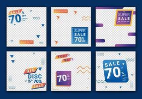 försäljning mall samling för marknadsföring försäljning. fyrkantiga banners för sociala medier, design för annonser, mall för modeförsäljning, webb- eller internetpost och sociala medier postdesign. vektor illustration
