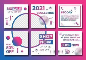 mallar ställer in sociala medier för modeaffärsannons, design med gradientfärg rosa, lila och blått. bakgrundsmall med kopieringsutrymme för bilder design av abstrakt färgad, linjekonst vektor