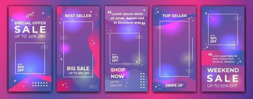 uppsättning 5 av sociala medier ig berättelser försäljning banner bakgrund, mobil app, affisch, flygblad, kupong, presentkort, smartphone mall berättelse. abstrakt modern mall design med lutning färg lila och blå. vektor
