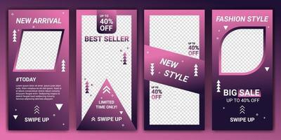 set 4 av sociala medier ig berättelser försäljning banner bakgrund, mobil app, flygblad, kupong, presentkort, smartphone mall berättelse. abstrakt modern malldesign med lutningsfärg rosa, lila och marinblå. vektor