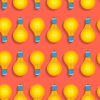 flache Designkonzeptidee des nahtlosen Hintergrundmusters mit Glühbirnenikone. Vektor veranschaulichen.