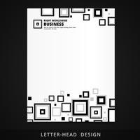 Briefkopfvektordesign mit quadratischen Elementen vektor