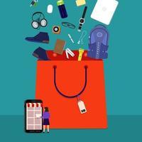 Online-Einkaufstasche vektor