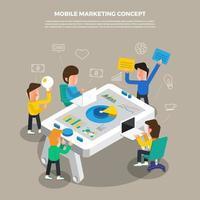 Brainstorming des flachen Designkonzepts, das an mobilem digitalem Marketing des Desktop-Symbols arbeitet. Vektor veranschaulichen.