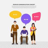flache Design-Konzept-Völker sprechen mit Ballon-Nachrichtenblase. Vektor veranschaulichen.