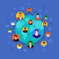 flaches Designkonzept soziales Netzwerk. Menschen, die sich auf der ganzen Welt mit Linien- und Avatar-Symbolen verbinden. Vektor veranschaulichen.