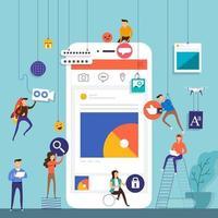 platt designkonceptteam som arbetar för att bygga sociala medieapplikationer på mobil. vektor illustrera.