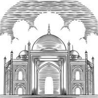 arabischer Vektorhintergrund mit gezeichneter schöner großer Moschee. Grußkarten-Gestaltungselemente. arabische Religion und Kultur, arabische Architektur. Ramadan, Eid Mubarak Konzept Skizze Illustration. vektor