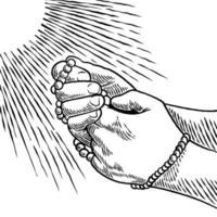 Hand gezeichnete Hände in betender Position gefaltet. Gebet zu Gott mit Glauben und Hoffnung. Ein Mann betet, während er einen Rosenkranz in seinen Händen lokalisiert auf weißem Hintergrund im Weinlesestil hält. Vektorillustration vektor