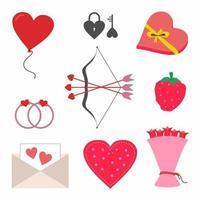 Satz romantisches Tagessymbol. Valentinstag mit Amor Pfeil und Bogen, Ring, Rosenblume, Liebesbrief und rotem Herzballon. flache Designvektorillustration. Sammlung von Liebeshochzeitsartikeln. vektor