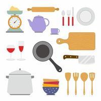 Sachen kochen. Geschirrset mit Pfannen, Geschirr, Tasse, Teekanne, Wasserkocher, Küchenwaage, Nudelholz, Löffel, Gabel, Messer, Schneidebrett, Schüssel und Glas. flache Vektorelemente zum Kochen der Illustration vektor