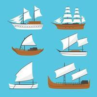 Vektor flaches Segelboot, Schiffsikone, eingestellt. altes Holzschiff mit weißen Segeln. Phinisi-Schiff, Barqque-Sadov-Schiff, Patorani-Schiff, Seetransport, traditionelles asiatisches Seeschiff.