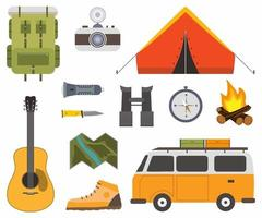 Satz Camping des Abenteuers. Ausrüstung von Campingobjekten, Zelt, Rucksack, Gitarre, Kamera, Lagerfeuer, Stiefel, Gitarre, Kompass, Fernglas flache Ikone in Zeichentrickfigur gesetzt. Vektorillustration vektor