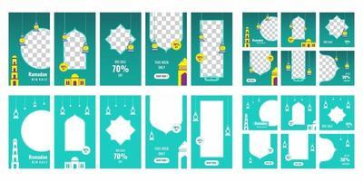bearbeitbare Social-Media-Vorlagen für Werbeaktionen beim Ramadan-Verkauf. Geeignet für Social-Media-Post- und Web-Internet-Anzeigen. Layout-Design für das Marketing in sozialen Medien. Vektorillustration vektor
