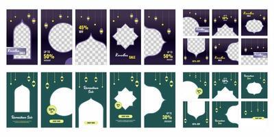 uppsättning ramadan kareem till salu sociala medier post mall banner design med prydnad stjärna, måne, moské och lykta bakgrund. ramadan och eid säsong. vektor illustration med foto college