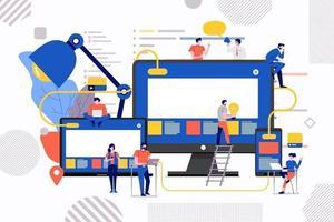Entwicklung der Teamwork-Website vektor