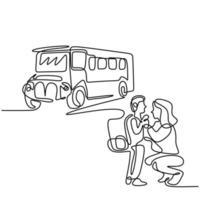 fortlaufende einzeilige Zeichnung der jungen Mutter bringt ihr Kind zum Schulbus. glückliches kleines Kind steht mit seiner Mutter auf der Straße. Back-to-School-Konzept handgezeichnete Linie Kunst Minimalismus Design vektor