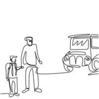 fortlaufende einzeilige Zeichnung des jungen Vaters bringt ihr Kind zum Schulbus. glückliches kleines Kind steht mit seinem Vater auf der Straße. Back-to-School-Konzept handgezeichnete Linie Kunst Minimalismus Design vektor