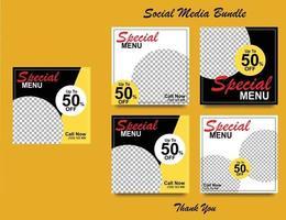 Social Media Banner für das Lebensmittelgeschäft. Social-Media-Vorlage für Lebensmittel für das Restaurantgeschäft. moderne soziale Vorlage Post Banner. Lebensmittel Rabatt Post Vorlage. vektor