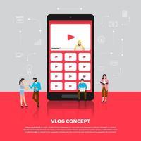platt design koncept vlog. team utveckla kanalvideo online. vektor illustrera.