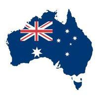 Aufkleber in Form von Australien-Karte im flachen Stil. Glücklicher Australien-Tag mit einer blauen Karte und Flagge lokalisiert auf Weiß. australische patriotische Elemente. Plakat, Karte, Banner und Hintergrund. Vektorillustration vektor
