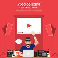 platt design vlog koncept. skapa videoinnehåll och tjäna pengar. vektor illustrerar