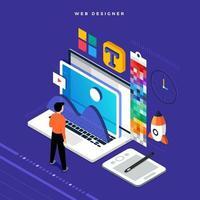 Webdesigner des isometrischen flachen Designkonzepts. Vektorillustration. Website-Layout-Design. vektor