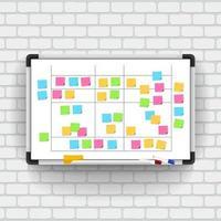 leeres Whiteboard mit Markierungsstiften und Notizpapier. Geschäftsvorlage Büro Whiteboard isoliert Vektor-Modell. Vektor veranschaulichen.