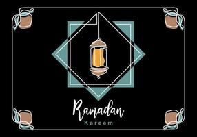 eid mubarak lyxigt klassiskt gratulationskort med traditionell lykta isolerad på svart bakgrund. hand rita en kontinuerlig linjedesign av ramadan kareem. muslimska människor firande. vektor